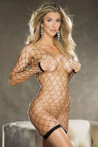 Shirley of Hollywood Black Wide Stretch Fishnet Rhinestone Adorned Long Sleeved Chemise 8-14