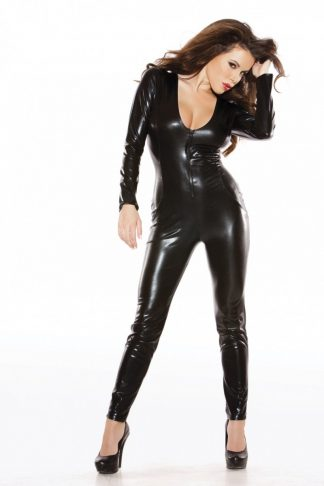 Allure Kitten Black Wet Look Mesh Catsuit With Front Zip 10-16