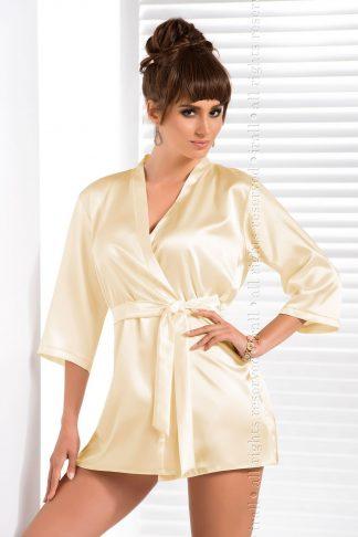 Irall Cream Classic Italian Satin Dressing Gown
