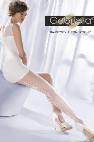 Gabriella White Bridal Elegant Classic Tights With Patterned Seams