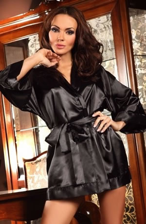 e330aa77c8 Beauty Night Black Maggie Dressing Gown With Thong Size 8-14