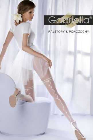 Gabriella White Bridal Elegant Tights With Faux Garter Design