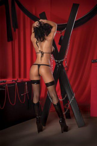 Lust Black Leather Look Temptress Choker Peek-a-Boo Open Bra Set 22-26