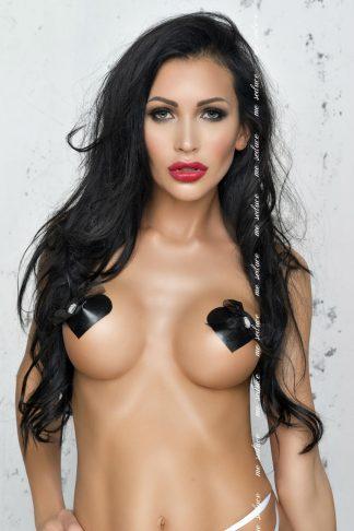 Me Seduce Black Heart Shaped Faux Leather Nipple Covers
